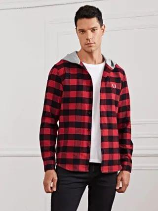 MEN Embroidery Feather Contrast Hooded Gingham Shirt