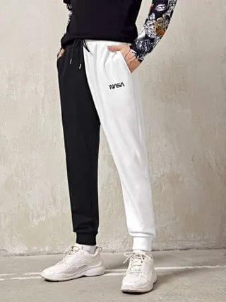 MEN Letter Embroidered Colorblock Joggers
