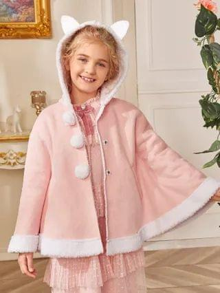 KIDS Ear Detail Teddy Lined Cape Coat