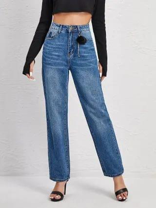 WOMEN High Waist Bleach Wash Pom Pom Detail Jeans