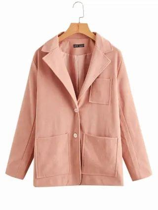 WOMEN Patch Pocket Button Front Solid Overcoat