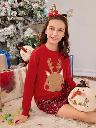 KIDS Pompom Detail Sequin Christmas Embroidered Sweater