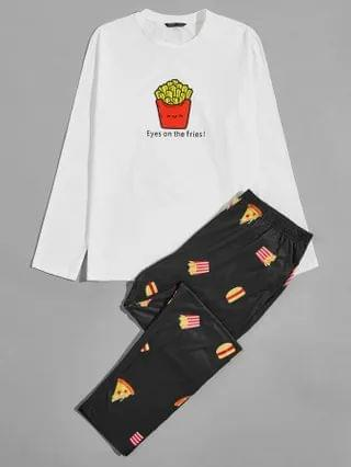 MEN Letter and Cartoon Graphic Top & Pants PJ Set