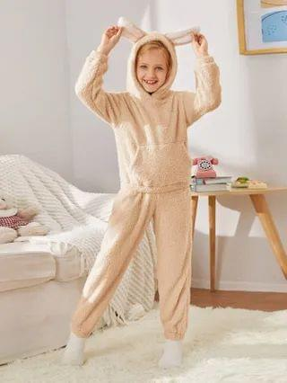 KIDS 3D Ears Design Teddy Hoodie & Pants PJ Set