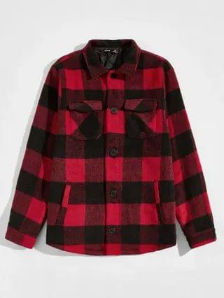 MEN Collared Buttoned Front Pocket Patched Buffalo Plaid Coat
