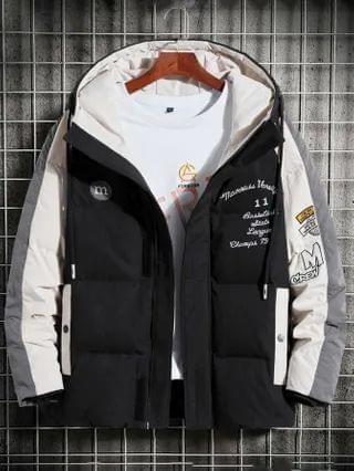 MEN Contrast Panel Letter Embroidery Hooded Coat