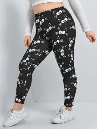 WOMEN Plus High Waisted All Over Cartoon Graphic Leggings