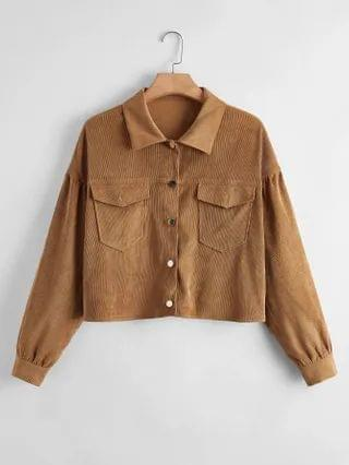 WOMEN Plus Solid Button Through Trucker Jacket