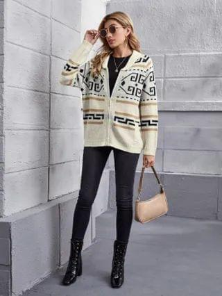 WOMEN Raglan Sleeve Zip Up Geo Pattern Cardigan