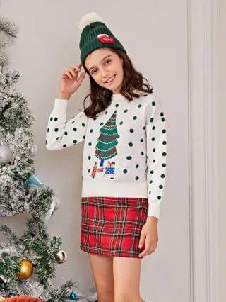 KIDS Polka Dot & Christmas Pattern Sweater