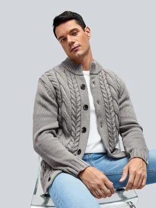 MEN Cable Knit Button Up Cardigan