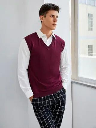 MEN Solid Sweater Vest Without Shirt