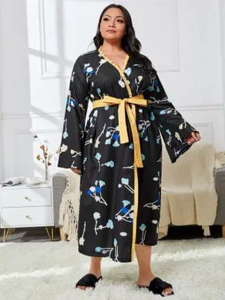 WOMEN Plus Floral Print Frill Trim Belted Satin Robe
