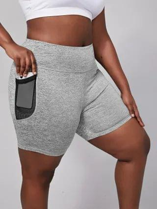 WOMEN Plus Space Dye Sports Shorts With Phone Pocket