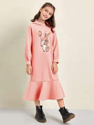 KIDS Rabbit Print Drop Shoulder Flounce Hem Hooded Dress