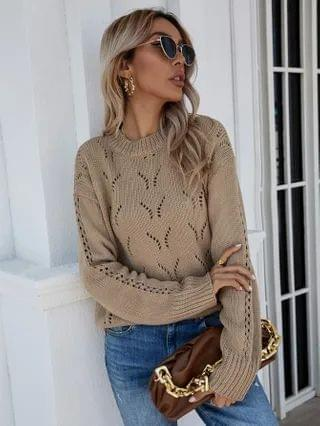 WOMEN Pointelle Knit Ribbed Knit Sweater