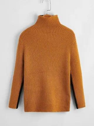 KIDS Two Tone Turtleneck Ribbed Knit Sweater