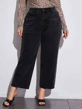 WOMEN Plus High Waisted Cropped Wide Leg Jeans