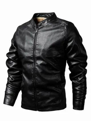 MEN Teddy Lined PU Leather Jacket