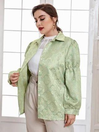 WOMEN Plus Puff Sleeve Jacquard Satin Jacket