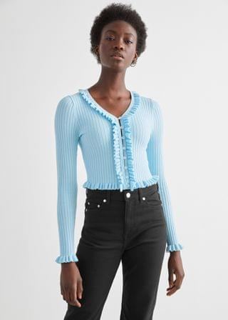 WOMEN Fitted Ribbed Ruffle Top