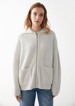 WOMEN Oversized Wool Zip Cardigan
