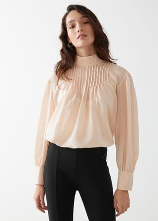 WOMEN Relaxed High Collar Silk Blend Blouse