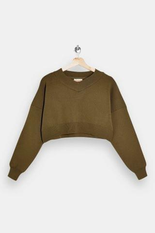 WOMEN Khaki High V Neck Cropped Knitted Sweater