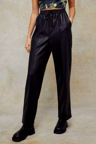 WOMEN Black Straight Leg PU Pants