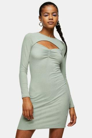 WOMEN Khaki Ribbed Ruched Cut Out Dress