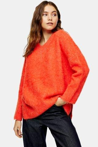 WOMEN Red Brushed Longline Knitted Sweater