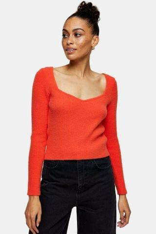 WOMEN Red Sweetheart Fluffy Knitted Top