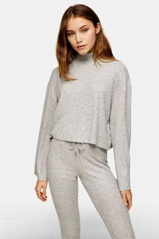 WOMEN Gray Brushed Ribbed Funnel Top