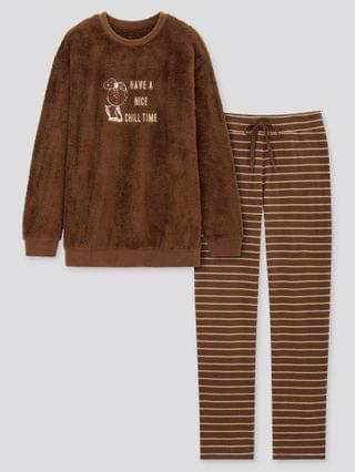 WOMEN peanuts holiday collection fleece long-sleeve set (online exclusive)