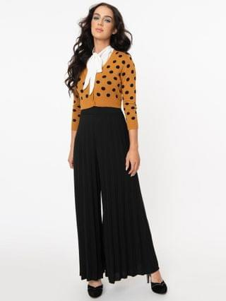 WOMEN Vintage Style Black Pleated Wide Leg Pants