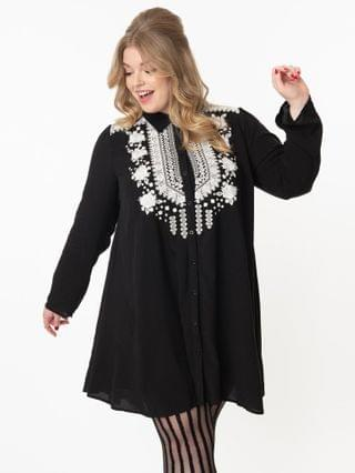 WOMEN Plus Size Black & Floral Embroidered Tunic Dress