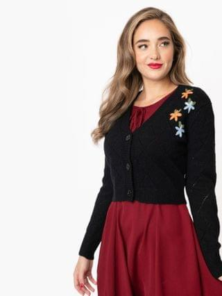 WOMEN 1950s Black & Floral Embroidered Crop Cardigan