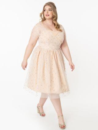 WOMEN Plus Size Champagne & Sparkling Stars Dorothy Swing Dress