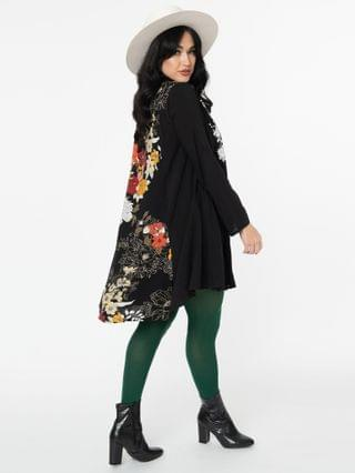 WOMEN Black & Floral Embroidered Tunic Dress