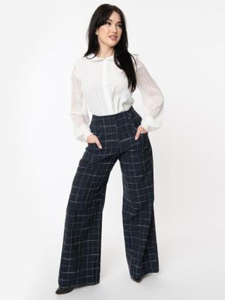 WOMEN Unique Vintage Navy Plaid High Waist Rogers Pants