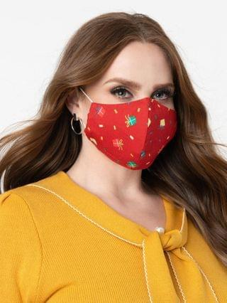 WOMEN Red & Holiday Gift Print Face Mask