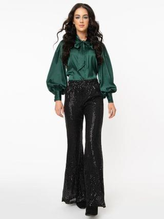WOMEN Black Sequin High Waist Flare Pants