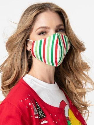 WOMEN Green & Red Holiday Stripe Print Face Mask