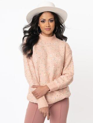 WOMEN Blush Speckle & Sparkle Oversized Sweater