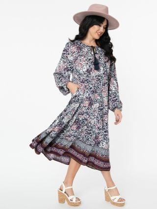 WOMEN Navy & Pink Floral Print Tiered Casual Dress