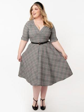 WOMEN Unique Vintage Plus Size 1950s Glen Check Delores Swing Dress with Sleeves