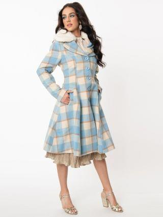 WOMEN Hell Bunny 1960s Light Blue & Ivory Plaid Milicent Coat
