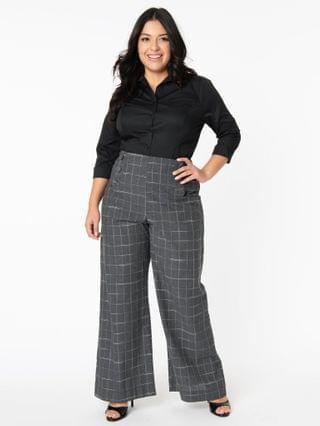 WOMEN Unique Vintage Plus Size Grey Plaid High Waist Rogers Pants