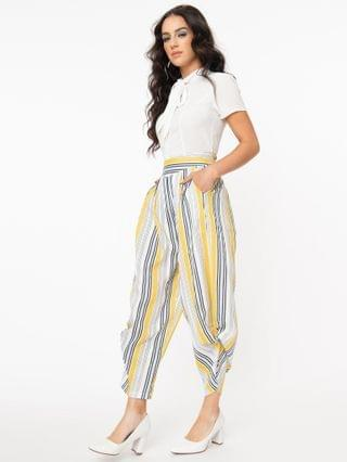 WOMEN Yellow & White Stripe Knotted Cuff Pants