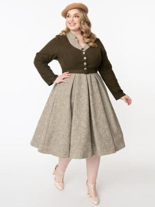 WOMEN Miss Candyfloss Plus Size 1950s Forest Green & Sand Tamrika Swing Dress